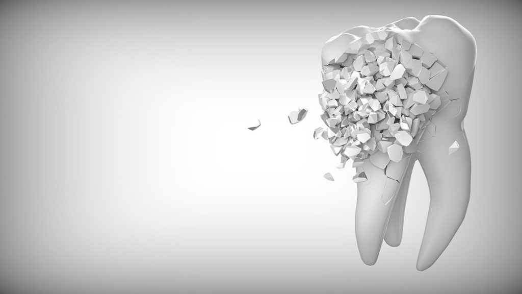 A broken, crumbling 3D tooth