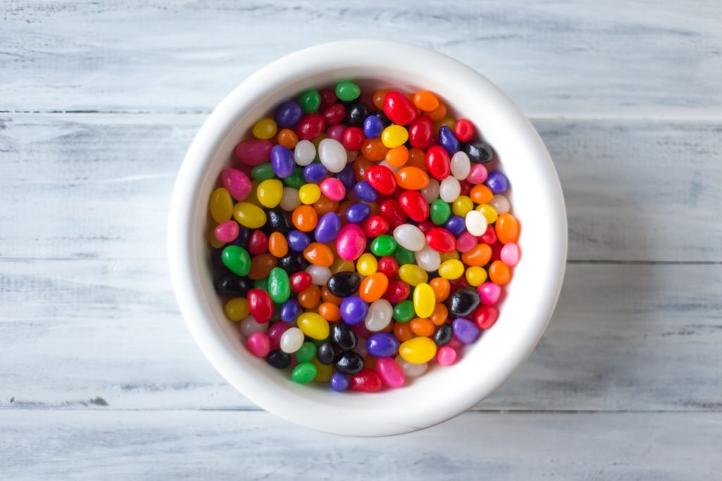 Jellybeans in a white bowl